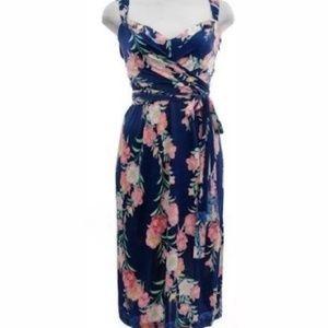 Elie Tahari 100% Silk floral Wrap detail Dress S
